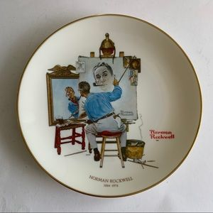 Norman Rockwell Triple Self Portrait Plate Gorham